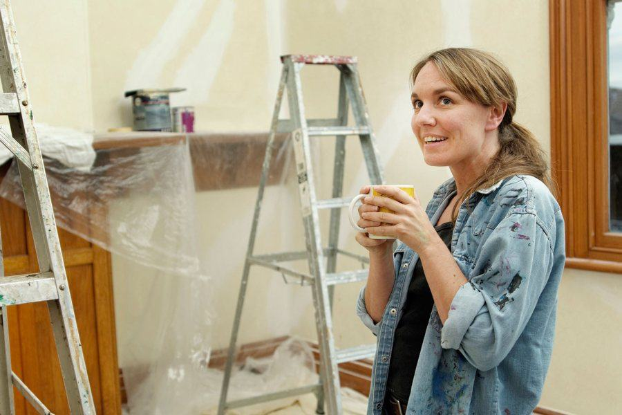 A woman during home renovation